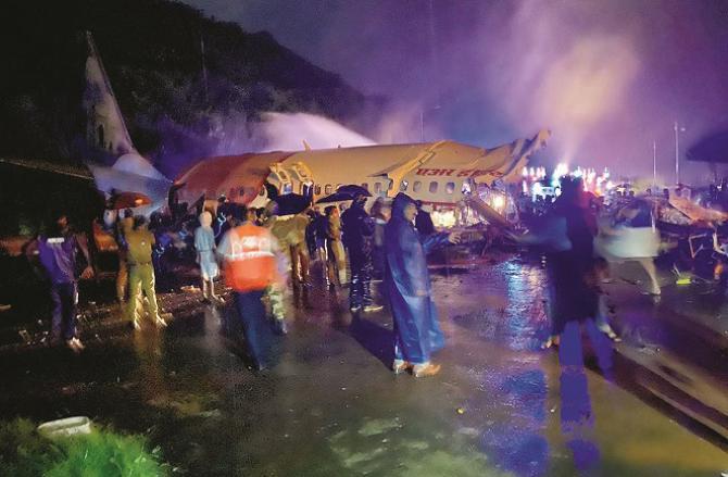A scene from a plane crash. Photo: PTI