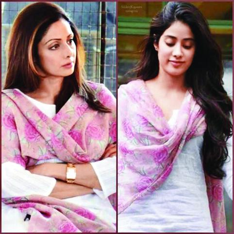 """<p style=""""text-align: right;"""">سری دیوی اور جھانوی کپور کی ایک تصویرجس میں دونوں ایک ہی طرز کے لباس میں نظر آرہی ہیں۔&nbsp;</p>"""