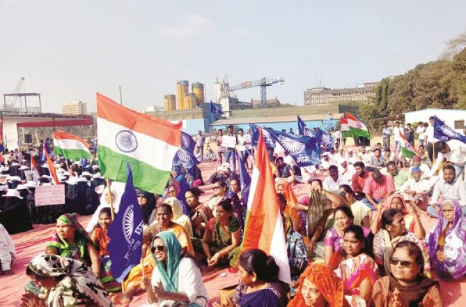Demonstrators in Azad Maidan. Picture Inquilab