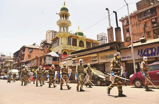CISF men march in the Dotanki area. Photo: Inquilab