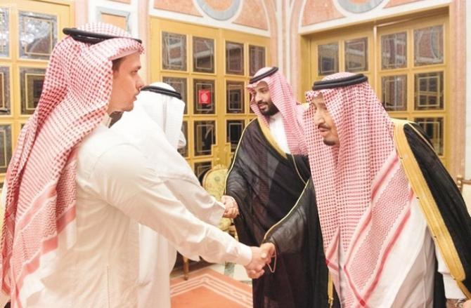 Saleh Khashoggi with Shah Salman and Muhammad bin Salman. Photo: INN