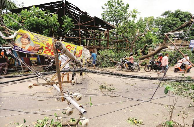 A scene of devastation from the storm. Photo: PTI