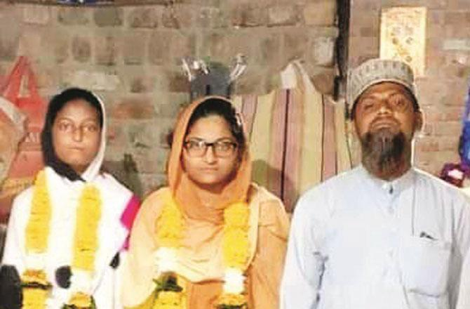 Bilqis and Arshia with Father