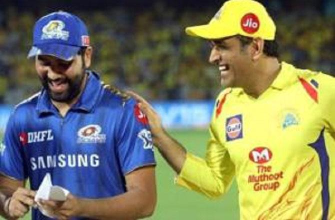 MS Dhoni And Rohit Sharma. Picture :INN