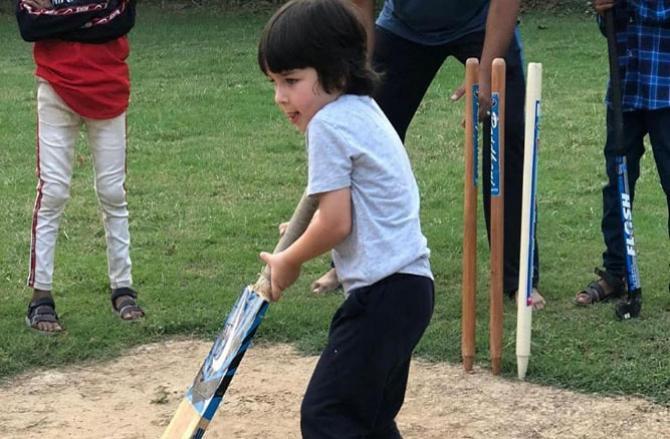 Taimur Ali Khan playing cricket.Picture:INN
