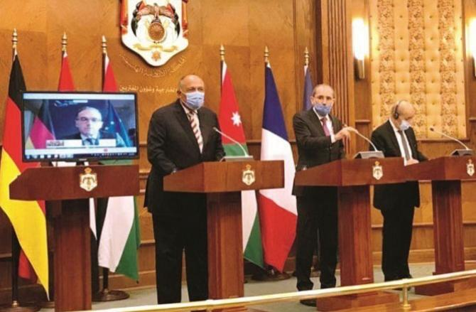 Foreign Ministers of the four countries during the meeting. Picture: Agency