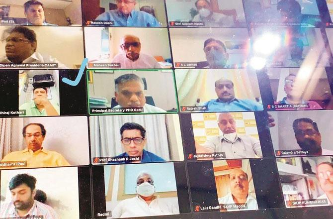 Photo of the meeting between Chief Minister Uddhav Thackeray and businessmen through video conferencing.Picture:INN