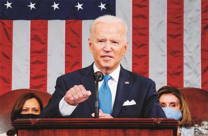 Joe Biden addressing a joint session of Congress for the first time as President.Picture:PTI
