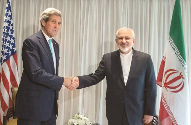 During the negotiations on the agreement in the year 2015, the then Foreign Ministers Jawad Zarif and John Kerry.Picture:INN