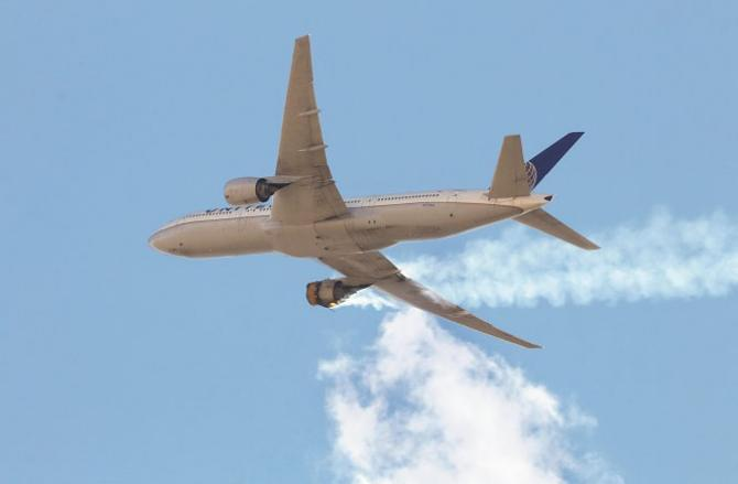 An engine fire is visible on the right side of the Boeing 777.Picture:INN