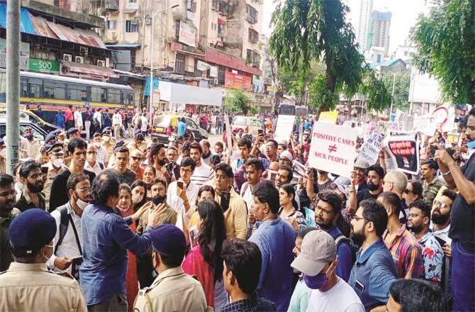 A large number of people participated in the protest held at Kotwal Maidan in Dadar.Picture:PTI
