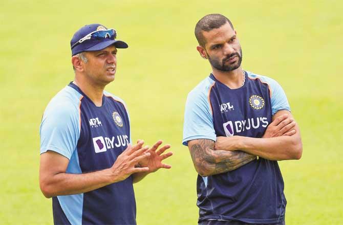 Team captain Shikhar Dhawan and head coach Rahul Dravid.Picture:PTI