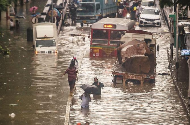 The picture below shows how much water flooded the roads. Picture: PTI