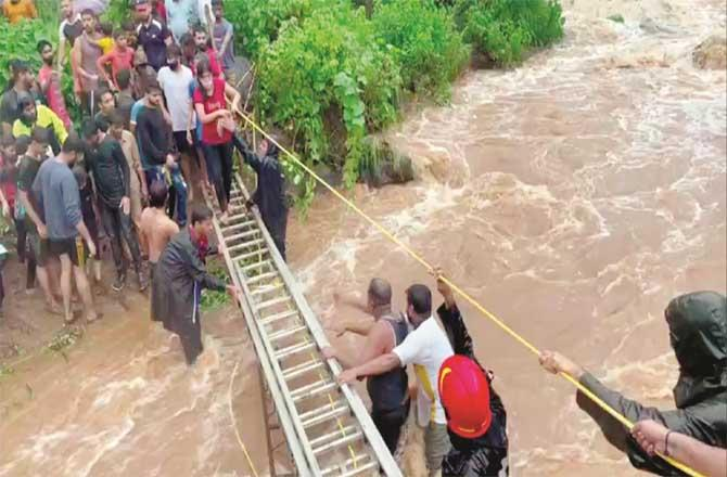 On July 19, 150 people were trapped near the waterfall.Picture:Inquilab