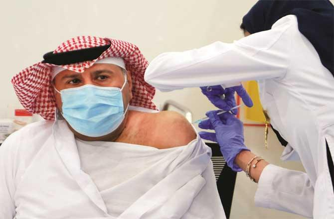 The first vaccination after the United States was launched in Saudi Arabia.Picture:PTI
