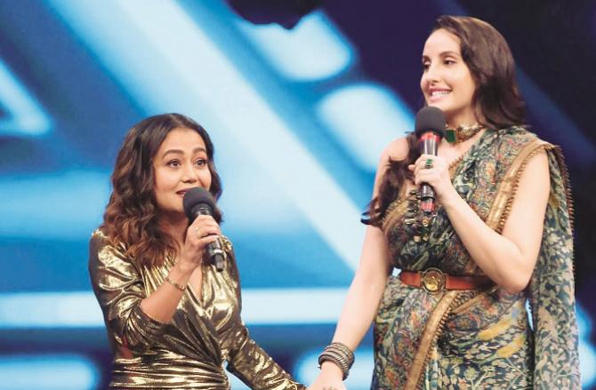 Nora Fathi and Neha Kakkar together.Picture:INN
