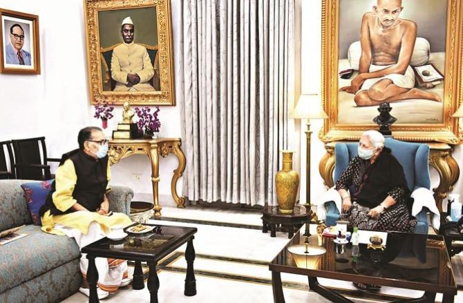 Radha Mohan Singh during a meeting with Governor Anandi Ben Patel.Picture:INN