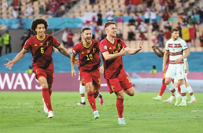Belgian players are seen in practice preparing for the match against RussiaPicture:INN