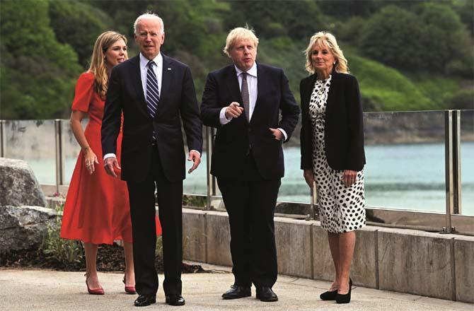 Wife of Jill Biden, Prime Minister of the United Kingdom Boris Johnson, President of the United States Joe Biden and Boris Johnson.Picture:PTI
