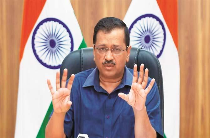 Delhi Chief Minister Arvind Kejriwal during a digital press conference.Picture:PTI