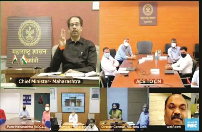 Chief Minister uddhav Thackeray inaugurating the facility provided to the citizens online.Picture:Inquilab