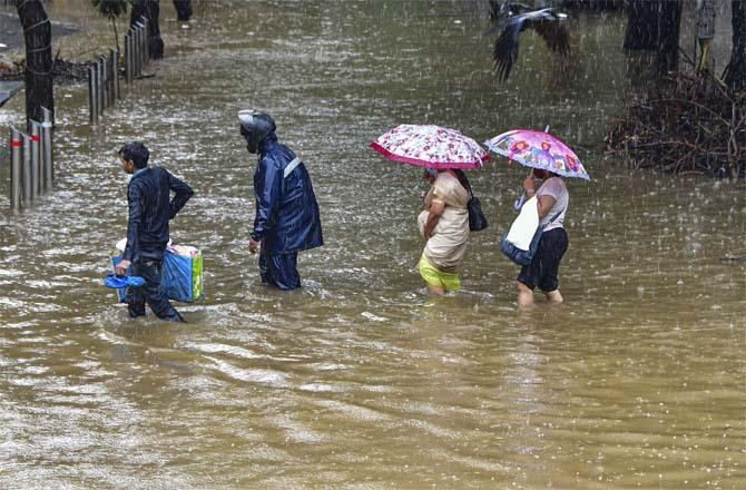 An underwater road in the Parel area.Picture:PTI