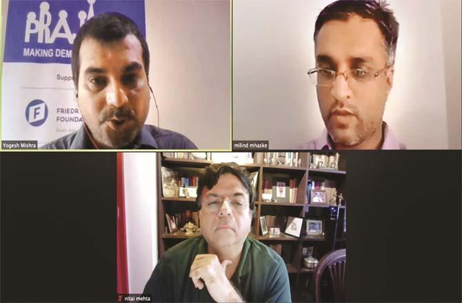 A scene from the Praja Foundation`s online press conference..Picture:Inquilab
