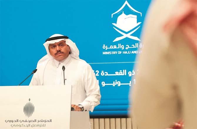 Saudi Health Minister Abdul Fattah bin Suleiman talking to the media.Picture:Inquilab