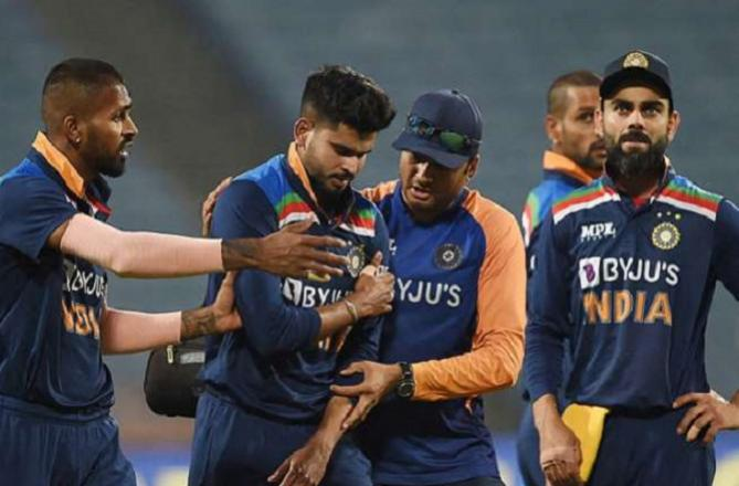 Shreyash Iyer out of the field due to shoulder pain.Picture:INN