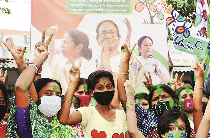 West Bengal is celebrating the victory of Mamata Banerjee`s party.Picture:PTI