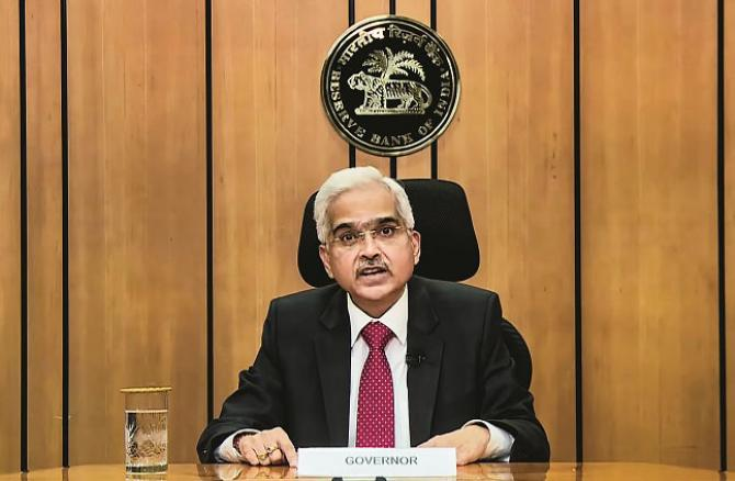 RBI Governor Shakti Kant Das speaking at an online press conference. Picture:PTI