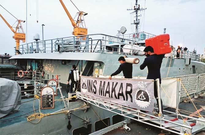 Soldiers can be seen on a navy ship.Picture:PTI