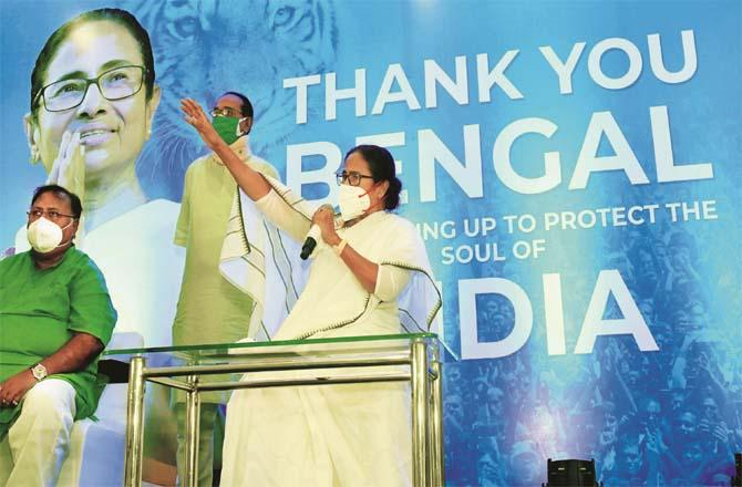 Mamata Banerjee on Monday thanked the people of West Bengal and also addressed a press conference.Picture:PTI