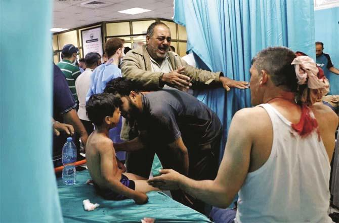 There is chaos in Palestinian hospitals. A large number of children have been affected by the Israeli attacks.Picture:PTI