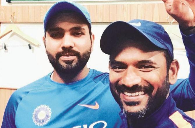 With Team India`s fielding coach Shri Dhar (right) Rohit Sharma.Picture:INN