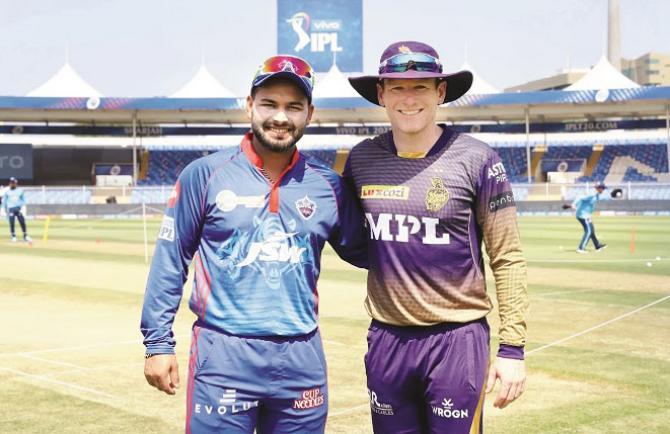 Kolkata captain Evon Morgan and Delhi captain Rish.Picture:INN