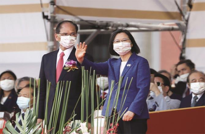 Taiwan`s president during a ceremony on the country`s national day (Photo: Agency)