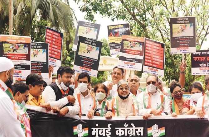 Congress leaders are protesting in Raj Bhavan against the Lakhimpur Kheri incident.Picture:Inquilab