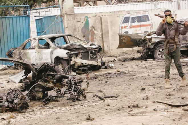 The wreckage of the car used in the attack can be seen in Somalia.Picture:INN