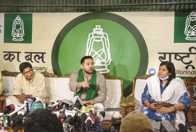 Patna:  Tejashwi Yadav addressing a press conference..Picture:INN