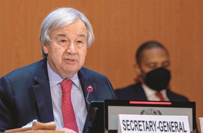 UN Secretary General Antonio Guterres addressing the meeting (Agency)